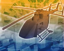 Helicopter evac Abstract concept digital illustration - stock illustration