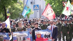 Stock Video Footage of Sevastopol, May 9, 2015. Parade 70th anniversary victory in WW II