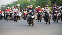 Many bikers in Saigon Stock Footage