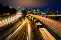 Long exposure at night of I-5, seen from Lakeview Boulevard, in Seattle, Wash - stock photo