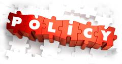 Policy - White Word on Red Puzzles Stock Illustration