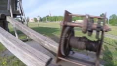 Old rusty gear reducer mill Stock Footage