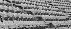 Stock Photo of gray seats in the stands before the sporting event