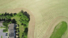 3624 Aerial Farmland of Hay Field Cut Ready For Harvest Baling, 4K Stock Footage