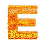 Fresh Orange alphabet symbol - letter E. Water splashes and drops on transpar Stock Illustration