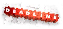 Deadline - Text on Red Puzzles - stock illustration