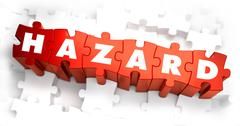 Hazard - White Word on Red Puzzles - stock illustration