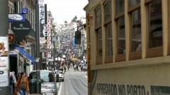 Stock Video Footage of 4K Portugal Porto Oporto Tram at Rua de Santa Catarina Street commercial