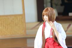 Japanese Women in Traditional Dress Miko Stock Photos