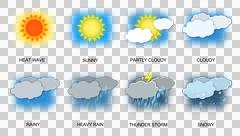 Weather icons transparent png Stock Illustration