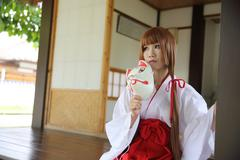 Japanese Women in Traditional Dress Miko - stock photo