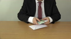 Businessman hand count money cash euro banknotes in envelope. 4K Stock Footage