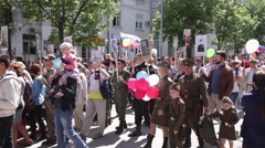 Sevastopol, May 9, 2015. Parade 70th anniversary victory in WW II Stock Footage