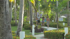 Walking on the sidewalk at Vista Sol Hotel in The Dominican Republic Stock Footage