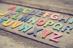 Stock Photo of Colorful wooden English alphabets