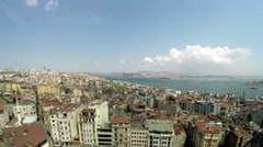 Panorama of Istanbul from the Galata tower Stock Footage