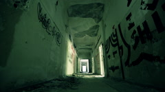 Abandoned long corridor/hallway dolly slider motion,wide angle Stock Footage