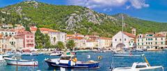 Picturesque Hvar waterfront panoramic view Stock Photos