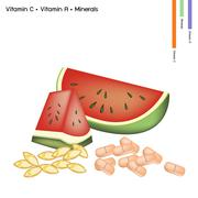Stock Illustration of Watermelon with Vitamin C and Vitamin A