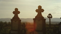 Cemetery in the sunset - stock footage