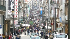 4K Portugal Porto Oporto Rua de Santa Catarina Street commercial district - stock footage