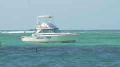 The Blue Sky boat floating on the Atlantic Ocean, Dominican Republic Stock Footage