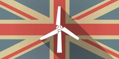 Stock Illustration of UK flag icon with a wind generator