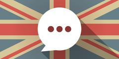 UK flag icon with a comic balloon Stock Illustration