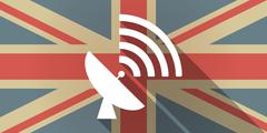 UK flag icon with a satellite dish Stock Illustration