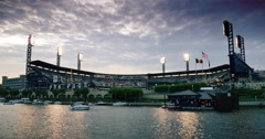 Stock Video Footage of PNC Park on Pittsburgh's North Shore Establishing Shot at Dusk