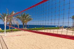 Beach at the luxury hotel, Sharm el Sheikh, Egypt - stock photo
