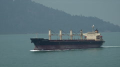 Loyal Union ship tanker steaming towards Singapore - stock footage