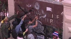 Protesters Destroy Police Headquarters Sign - stock footage