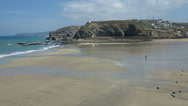 Stock Video Footage of Portreath incoming spring tide time lapse.