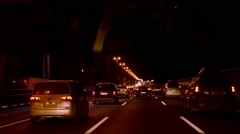 Night traffic on the highway Stock Footage