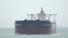 Stock Video Footage of Vale Lianyungang ore tanker ship steaming towards Singapore