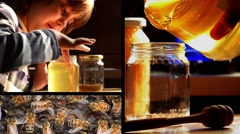 Child, honey, bees Stock Footage