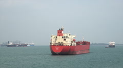 Ships anchored in port of Singapore harbour Stock Footage