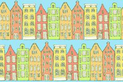 Sketch Amsterdam houses in vintage style - stock illustration