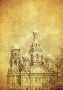 Vintage image of Church of the Savior on Blood, Saint Petersburg, Russia - stock photo