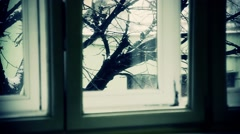 Winter out of window Stock Footage