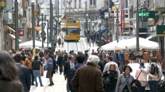 Stock Video Footage of 4K Portugal Porto Oporto Rua de Santa Catarina Street commercial district