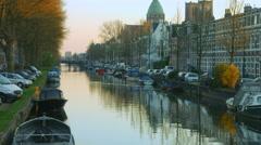 Leidsevaart Canal in Haarlem Netherlands Stock Footage
