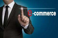 Stock Photo of e commerce touchscreen is operated by businessman