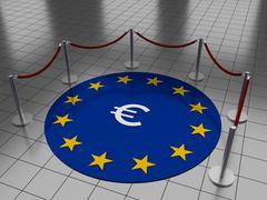 Euro on floor with stars Stock Illustration