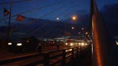 Traffic on Rama 8 bridge at night , Bangkok , Thailand Stock Footage