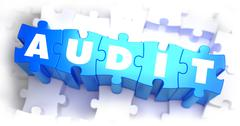 Audit - White Word on Blue Puzzles Stock Illustration