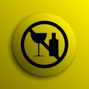 Stock Illustration of No alcohol icon. Yellow internet button..
