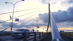 Traffic on Rama 8 bridge in twilight , Bangkok , Thailand Stock Footage