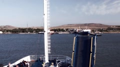 The ferry arrives in the harbor of Port Kavkaz. Stock Footage